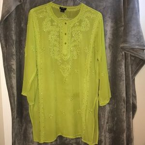 4/$20 Gorgeous Sheer Sequined Lime Green Tunic XL